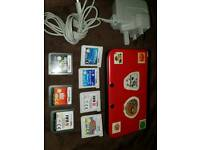 Red Nintendo 3DS XL With 7 Games Charger & 2GB Memory Card