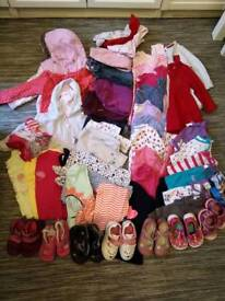 Girl clothes and clarks shoes bundle 12-18 months