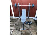 Solid Bench with 60kg metal Weights Set. •Can Deliver•