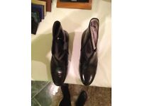 Mens Black Cubian Heel Ankle Shoes (New)