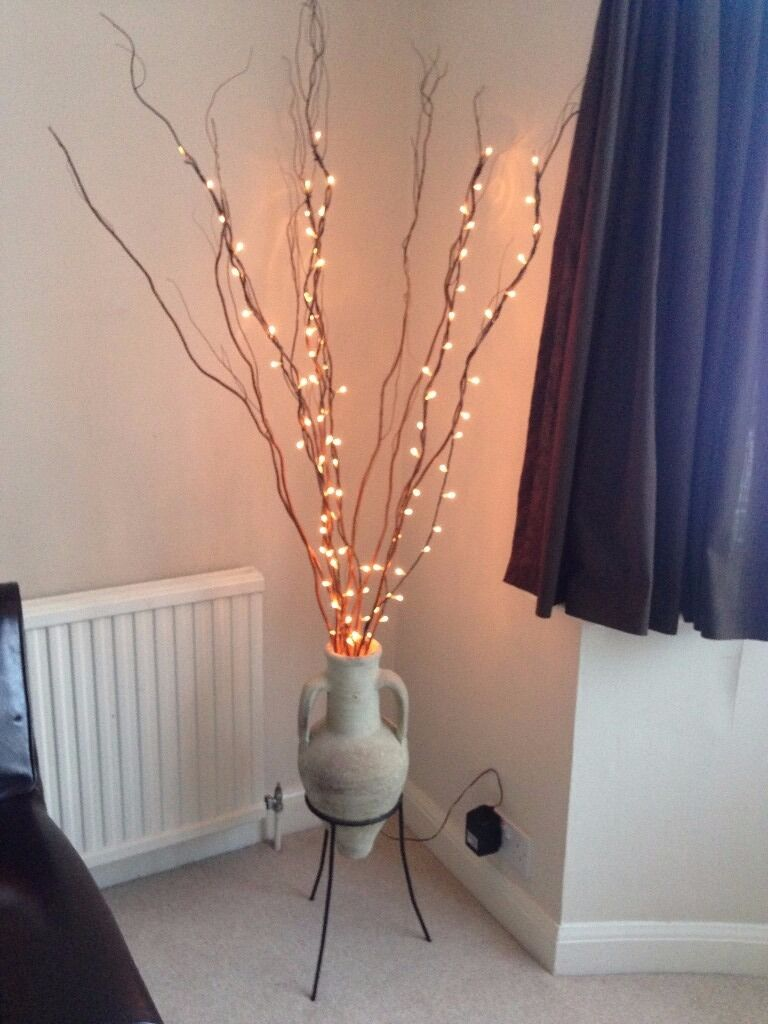 homebase grecian style amphora with stand and birch twigs with
