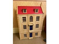 Wooden Dolls House -double fronted -4 floors