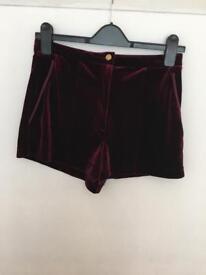 Shorts, red velvety size 10 Topshop