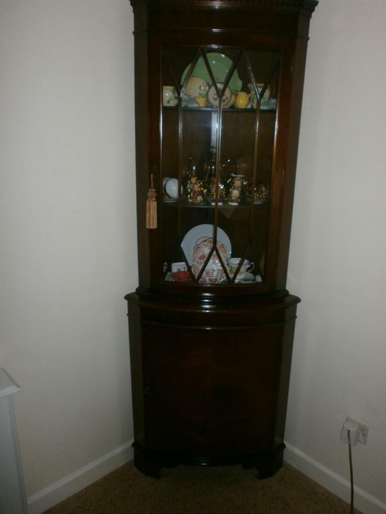 Corner unit shop tea room lounge dark wood top glass display with bottom cupboard with lock