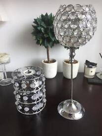 Chrome tea light holder & light shade
