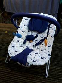 Mothercare Music & Vibration Blue Whale Baby Bouncer