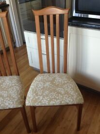 2 Chairs £15 each re - covered seats in smart designer fabric, both in clean very good condition
