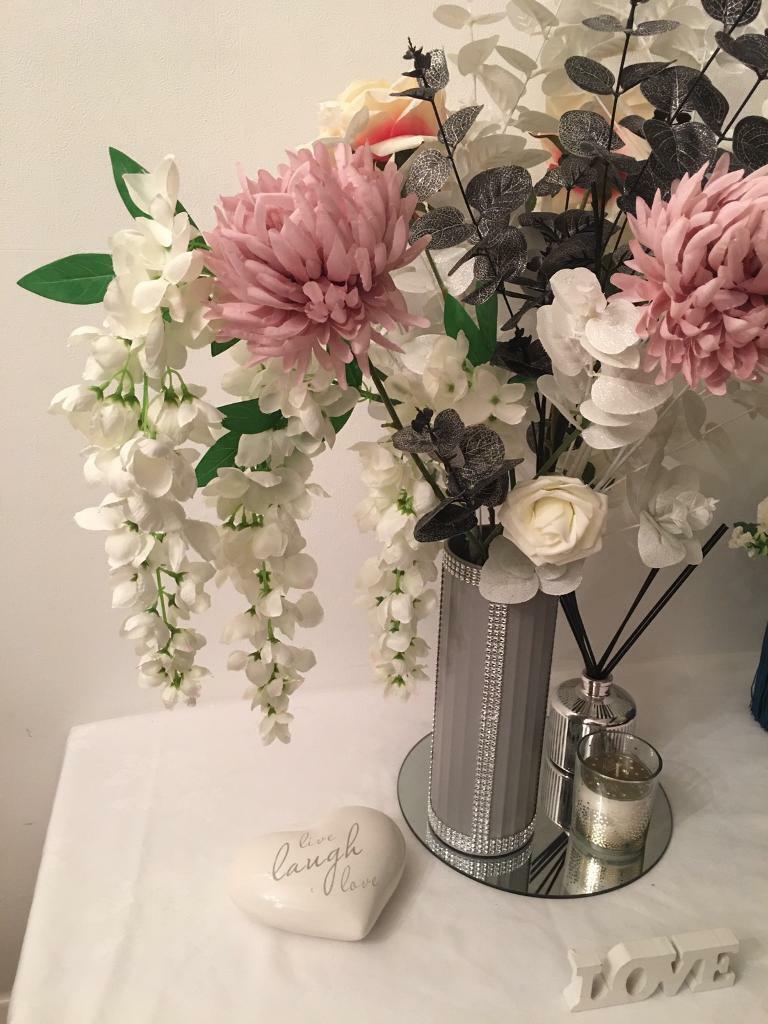 Artificial Flower Arrangement Diamante Grey Vase Huge Display In Harlow Essex Gumtree