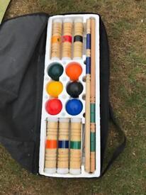 Children's wooden croquet kit in case