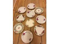 10 x vintage side plates various Shabby Chic