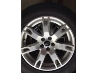 4 Range Rover Evoque wheels with caps and part worn Pirelli tyres 18""