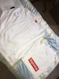 Supreme white pique logo long sleeve t shirt, large