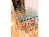 Large Luxury Glass Dining Table with Six Chairs | Extendable