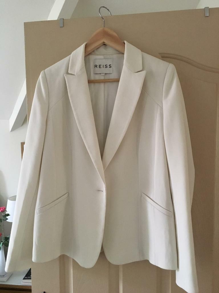 Cream REISS fitted blazer (tuxedo style). Size L, would fit a 14, never worn, paid £175, accept £60.