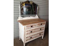 Vintage Shabby Chic Upcycled Chest of Drawers on Castors with Swivel Mirror