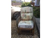 2 x Cane Chairs with cushions