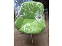 Green Swivel Tub Chair Green Fabric Seat- Chrome Base