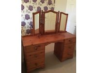 Dressing Table, Three way Mirror, Drawers and Stool - Dark Pine