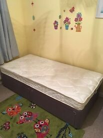 Single Bed & mattress with 2 Storage Drawers
