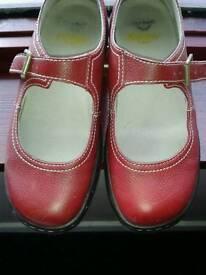 Ladies Vintage Buckle Red Leather Dr Marten Shoes