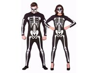 SKELETON / DAY OF THE DEAD FANCY DRESS OUTFIT SIZE L PARTY OR STAG DO