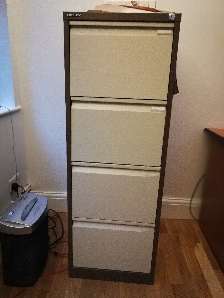 Bisley Economy Filing Cabinet 4 Drawer Coffee Cream In