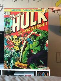 Retro marvel comic canvas hulk/wolverine