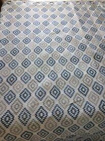 2 pairs of grey / blue M&S diamond jacquard eyelet curtains