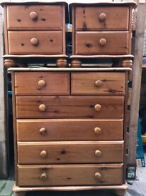 Bedroom 6 drawer chest and 2 matching bedside chests