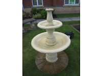GARDEN TWO TIER FOUNTAIN WITH PUMP & COVER