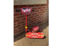 Cars Lightning McQueen scooter, skateboard & helmet