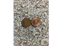 2 half penny coins