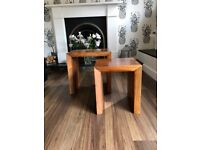 Solid wood walnut nest of tables, pair. Very good condition