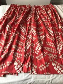 John Lewis red malin curtains & matching lampshade - 168cm (W) x 137cm (L)