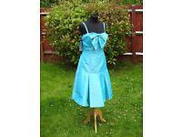 UK Size 10 D'ZAGE Designer Stunning Blue Prom Party Evening Occasion Dress