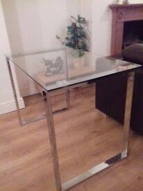 Glass Console Table Chrome / Stainless Steel Legs