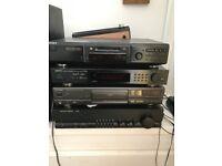 Harman Kardon amplifier and attachables. Technics CD player, Sony Mini disc player, Denon Tuner
