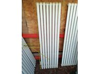 WHITE VERTICAL SINGLE ROUND TUBED RADIATOR 1600 X 472 MM