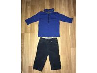 Blue NEXT top & John Lewis trousers 6-9 months