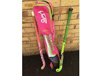 Two hockey sticks plus bag