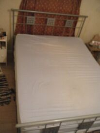 Double Bed - Metal frame with wooden horizontal slats