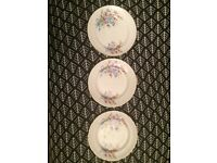 Set of 3 Floral Vintage Fine Bone China Side Plates with Gold Trim