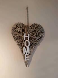 Set of 2 hanging wicker hearts