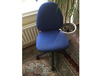 Blue study/office chair on wheels
