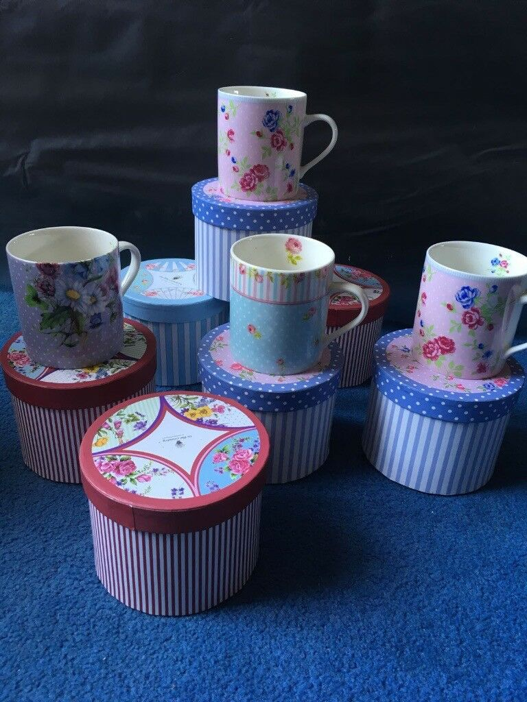 7 Mugs with Decorative Boxes - Brand New