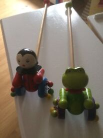 2x wooden push along toddler toys