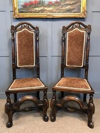 2 Antique Throne Chairs Carved Period Hall Chairs Dining Chairs Wedding