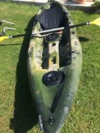 Kayak incl back rest, paddle and wheels. Mint condition - used 5 times only