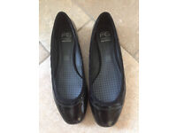 NEW M & S Foxglove Black Patent Slip on Flat Shoes Size 7.5 Wider Fit