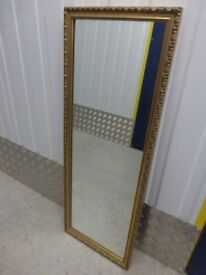 Rectangle mirror with gold frame